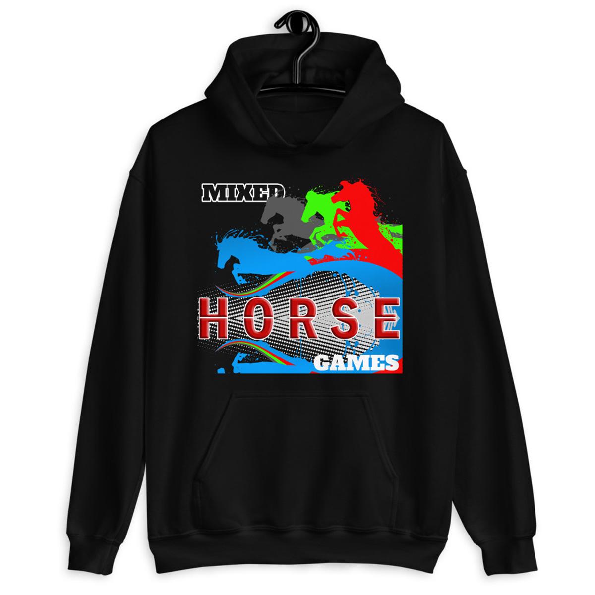 Horse Poker Hoodie-Black