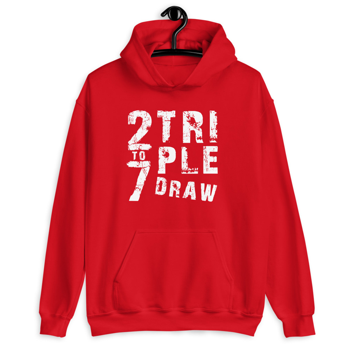 2 To 7 Triple Draw Poker Hoodie-Red