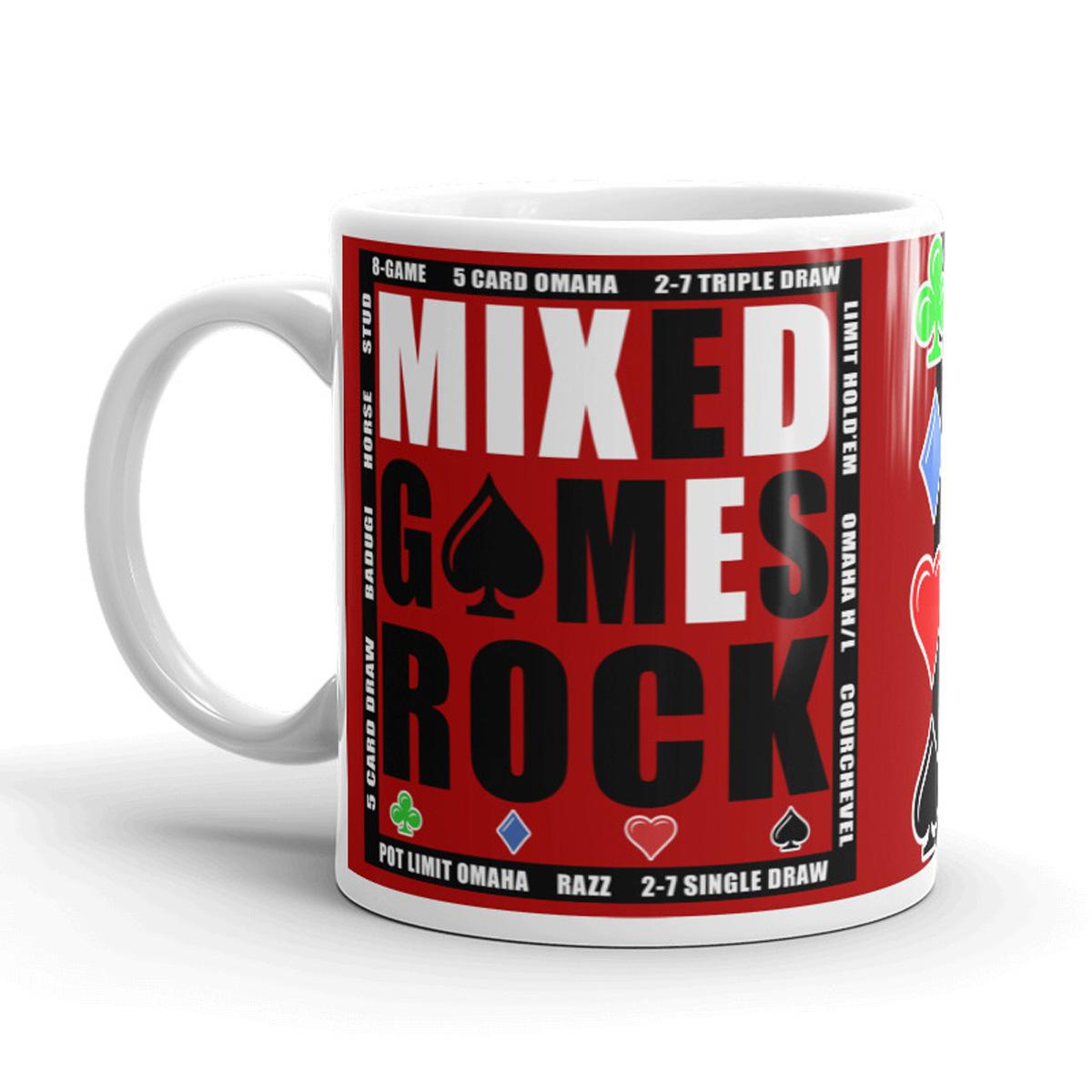 Mixed Games Rock Poker Mug - Left