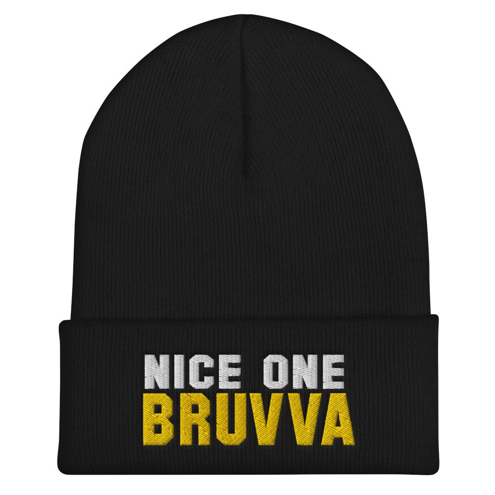 Nice-One-Bruvva-Cuffed-Beanie-Black