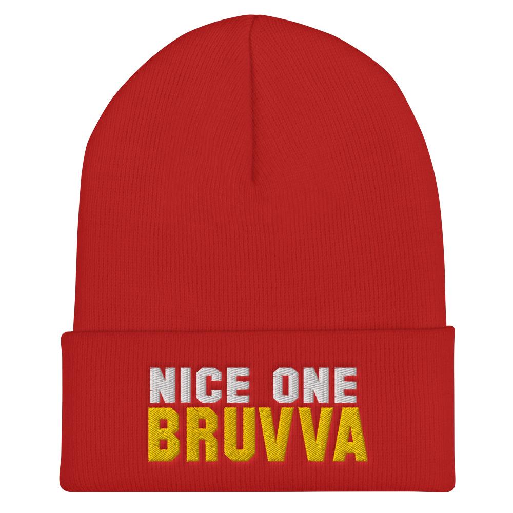 Nice-One-Bruvva-Cuffed-Beanie-Red
