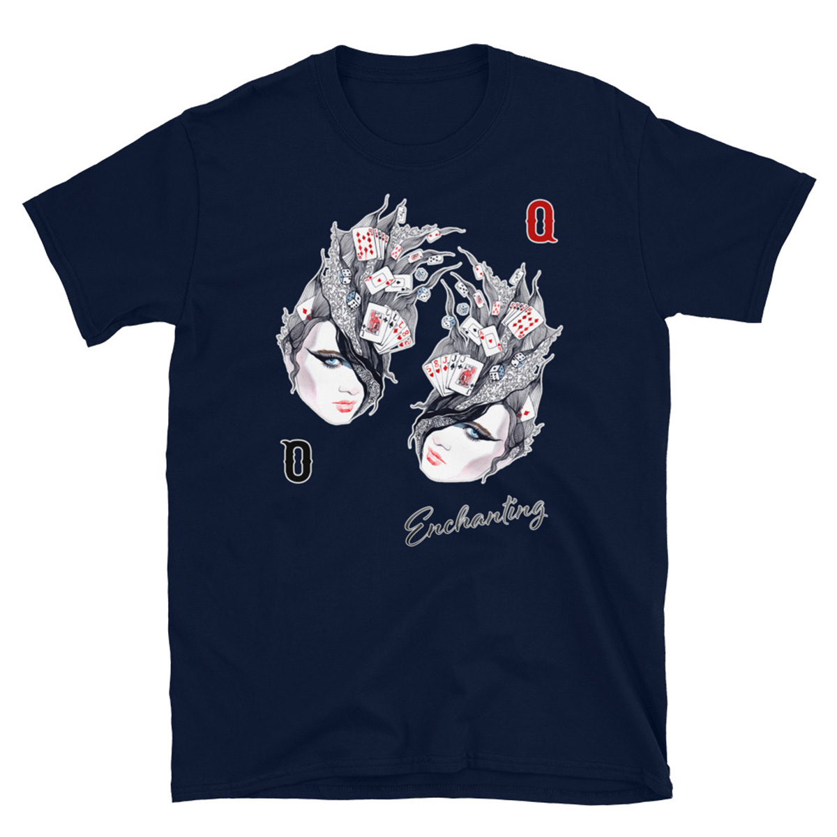 Enchanted Queen Poker T-Shirt - Navy
