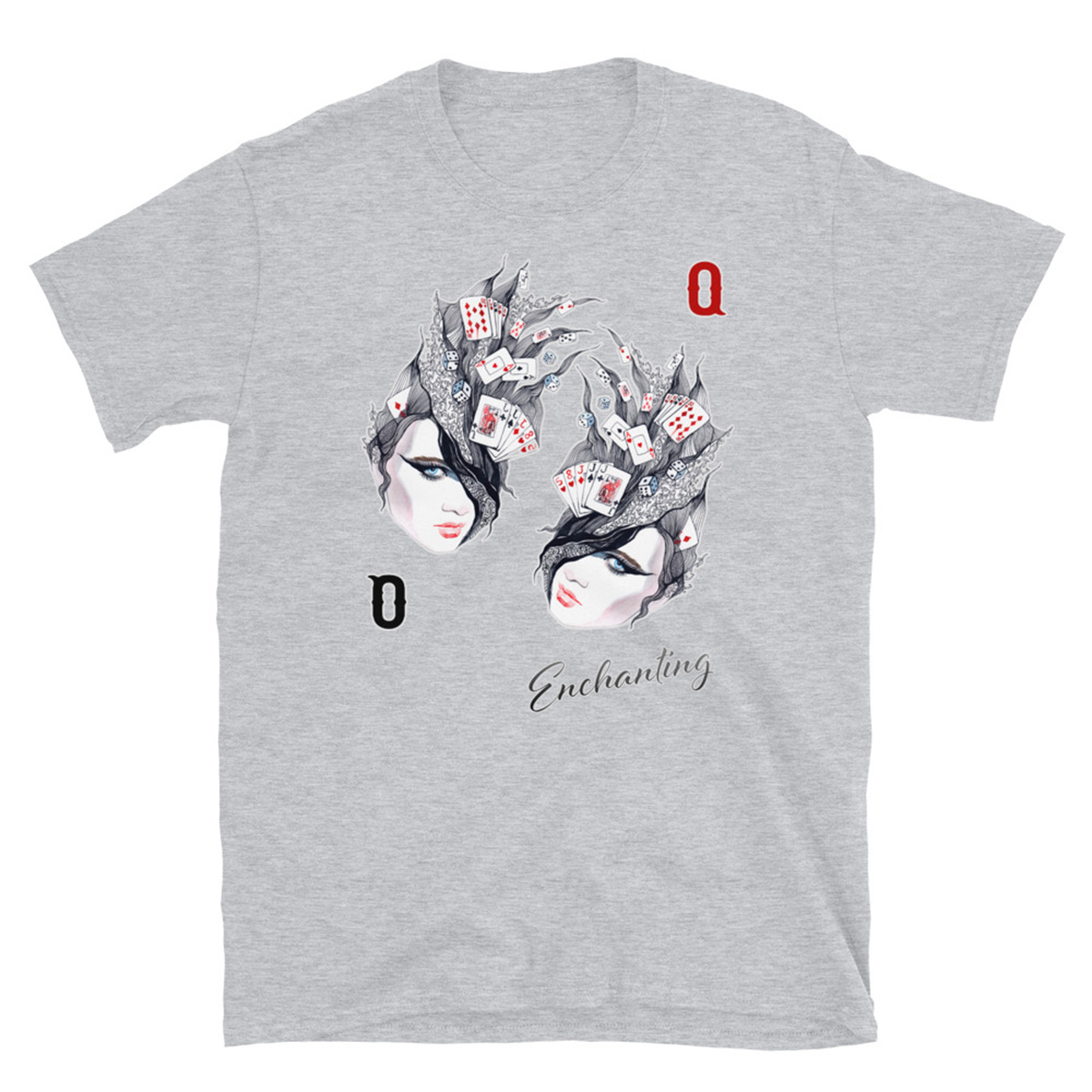 Enchanted Queen Poker T-Shirt - Sports Grey