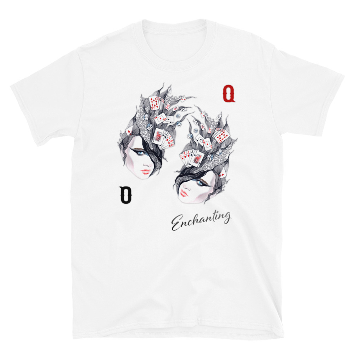 Enchanted Queen Poker T-Shirt - White