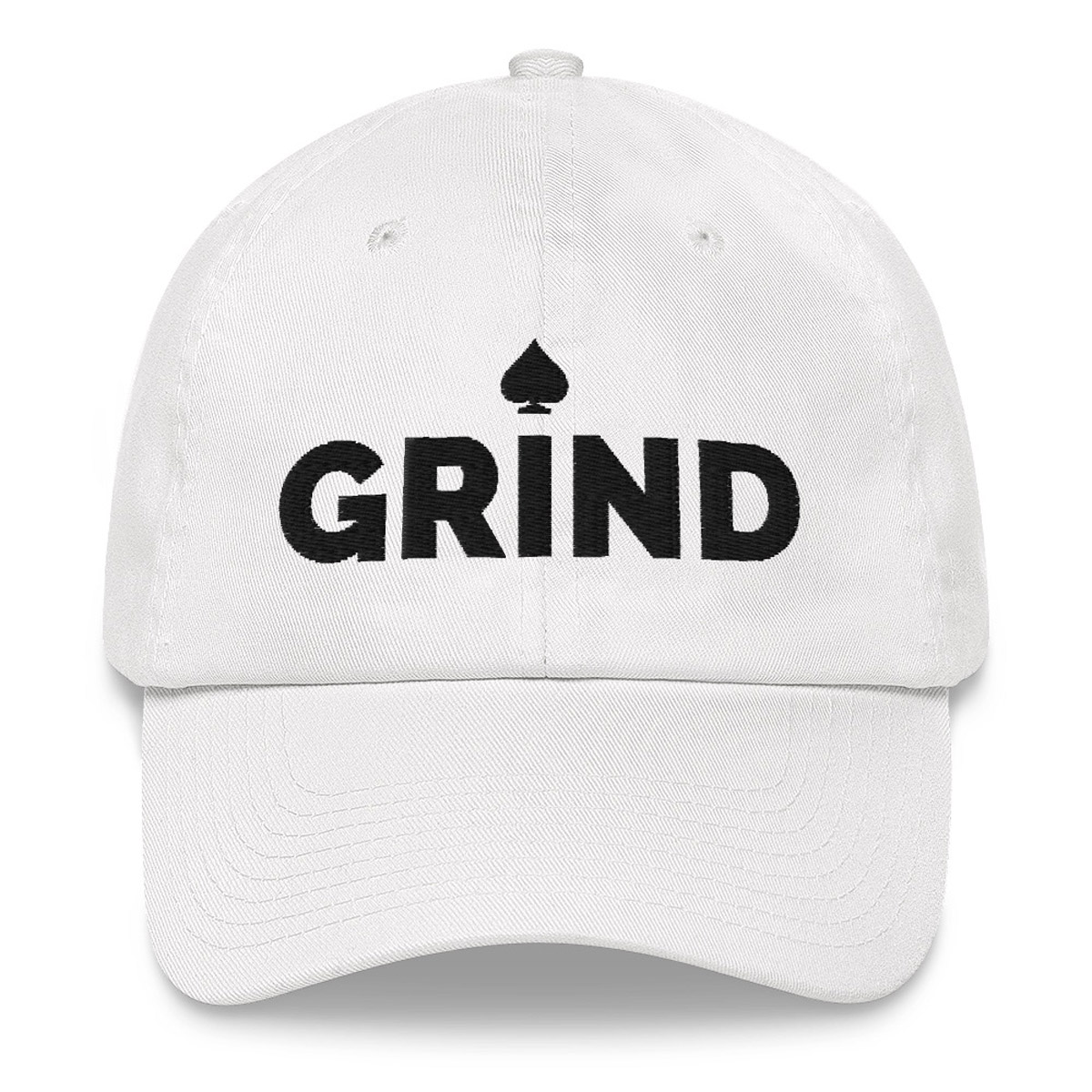 Grind Poker Dad Hat - White