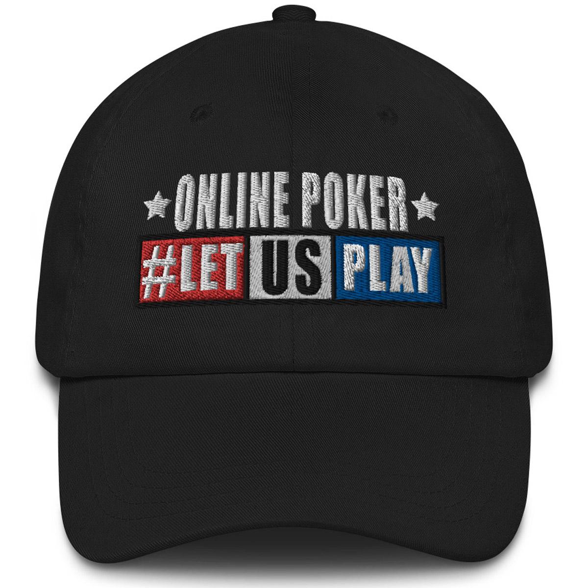 Online Poker Let US Play Dad Hat - Black