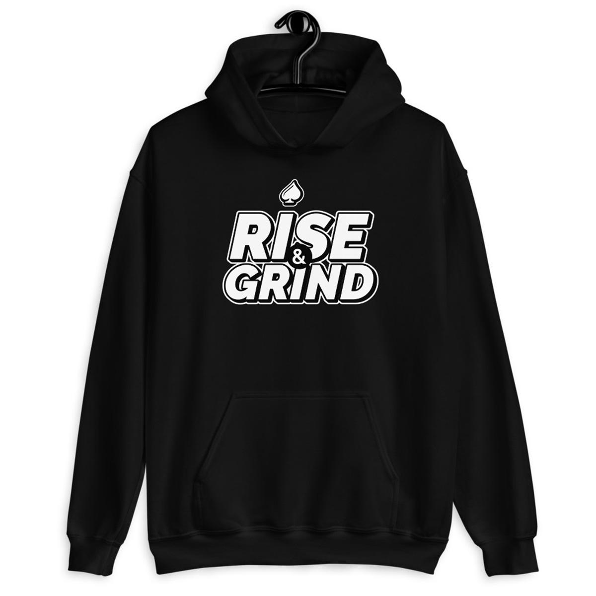Rise and Grind Poker Hoodie-IBlack
