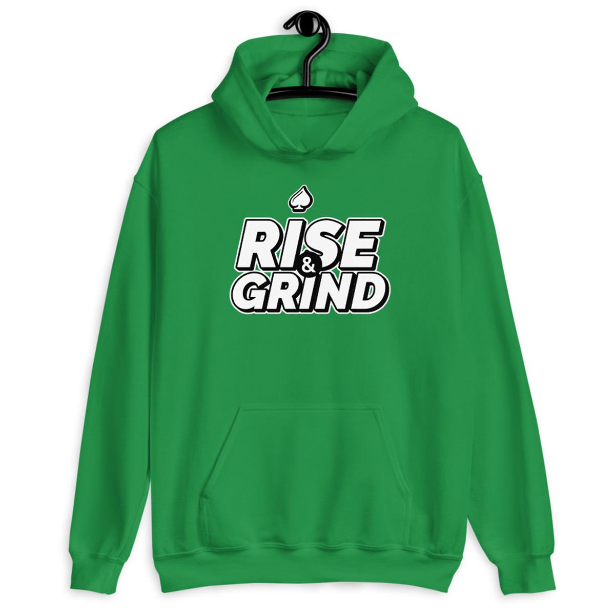 Rise and Grind Poker Hoodie-IIrish Green