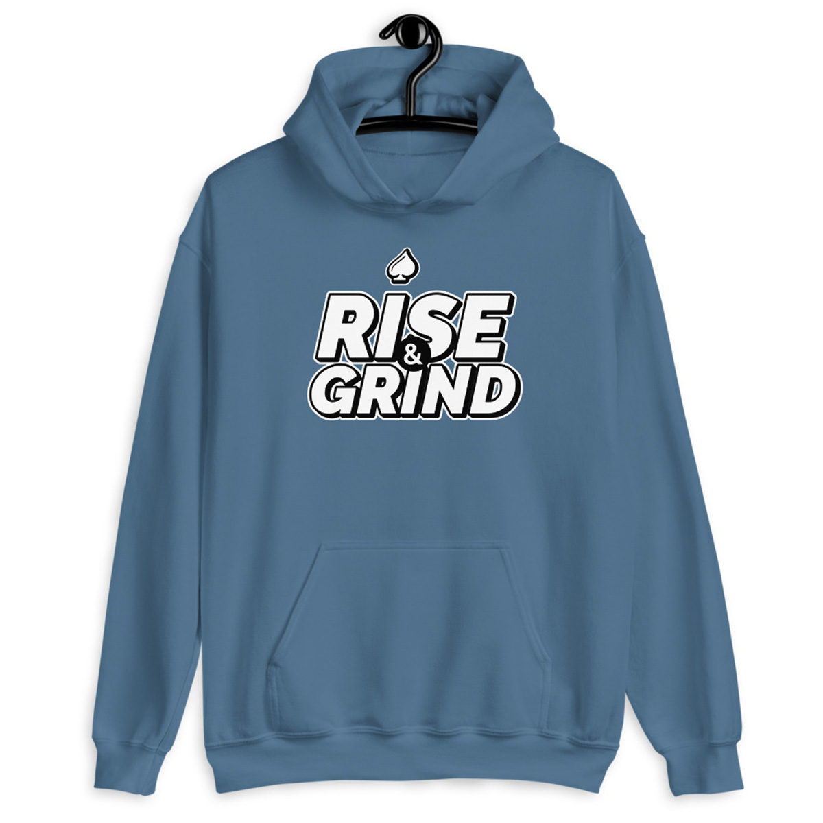 Rise and Grind Poker Hoodie-Indigo Blue