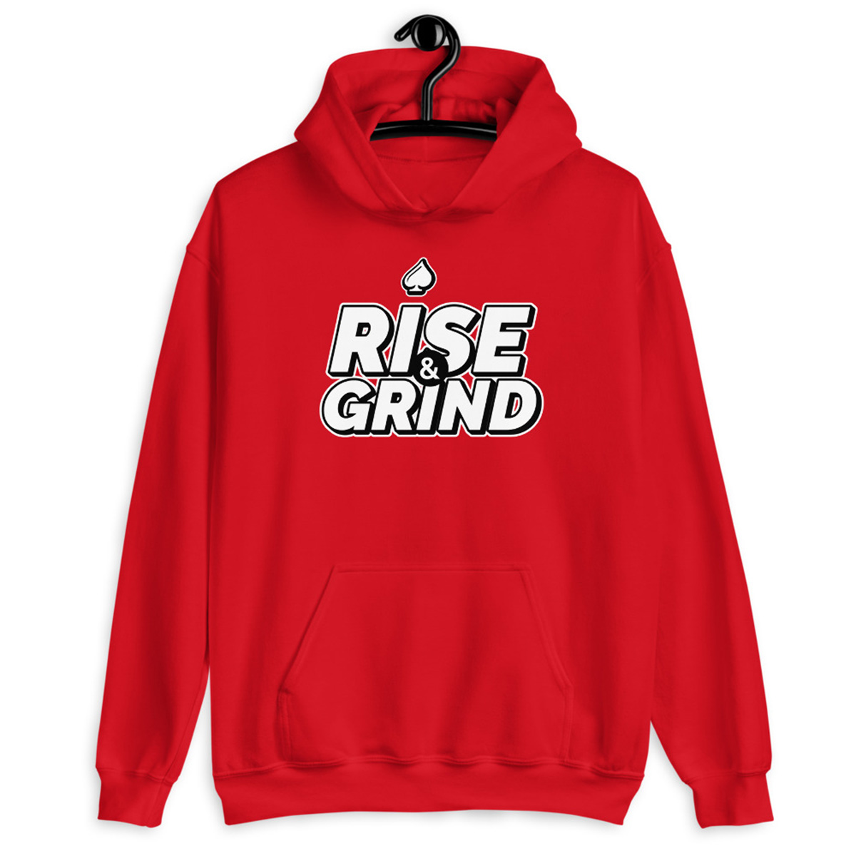 Rise and Grind Poker Hoodie-Red