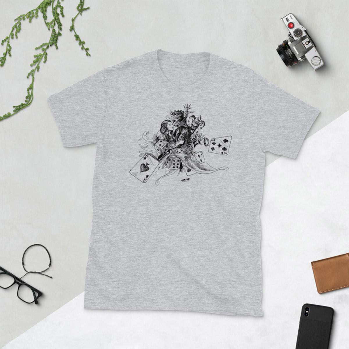 Lovers Gamble Poker T-Shirt-Sports Grey