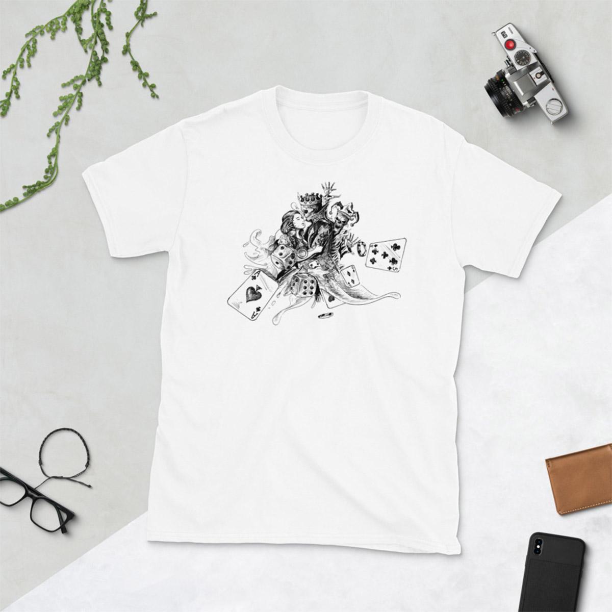 Lovers Gamble Poker T-Shirt-White