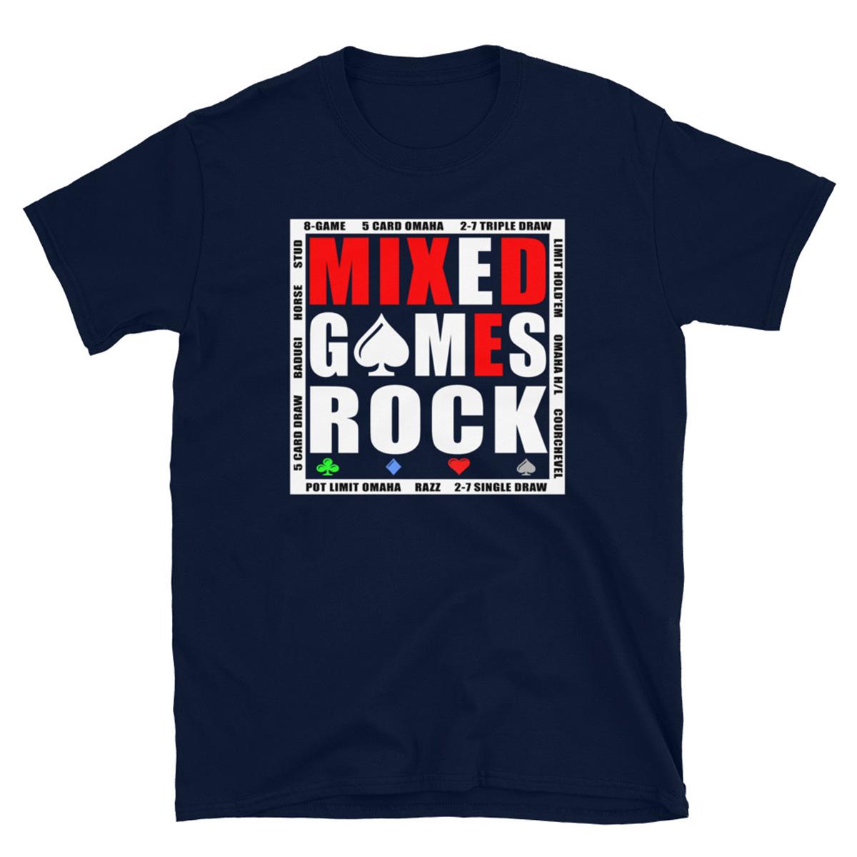 Mixed Games Rock Poker-T-Shirt-Navy