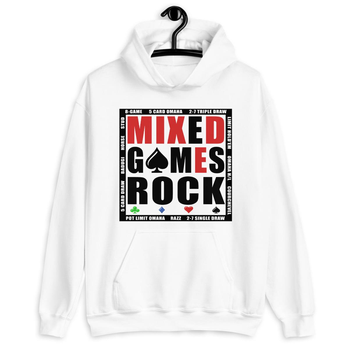 Mixed Games Rock Poker hoodie - White