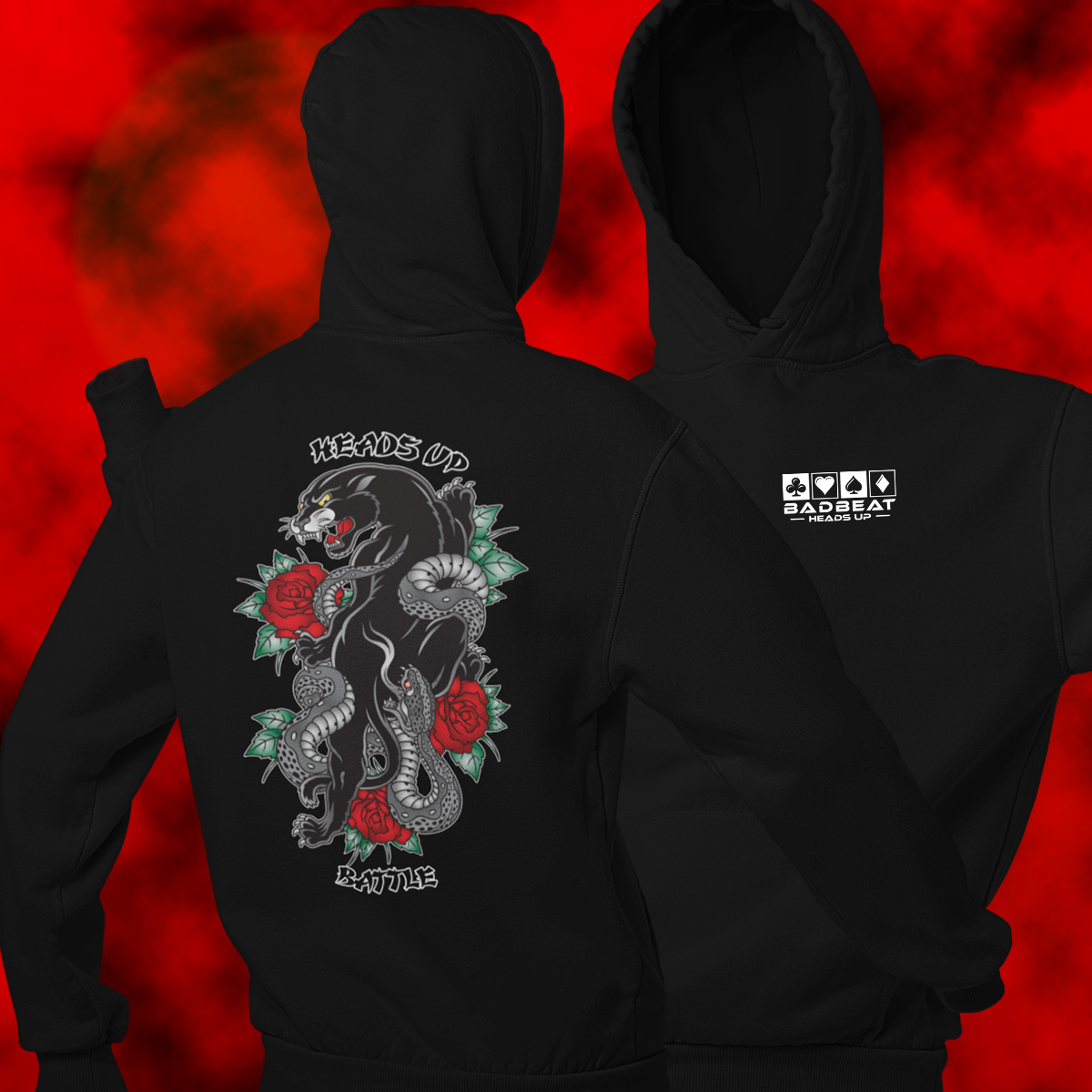 Heads Up Battle Poker Hoodie - Front n Back