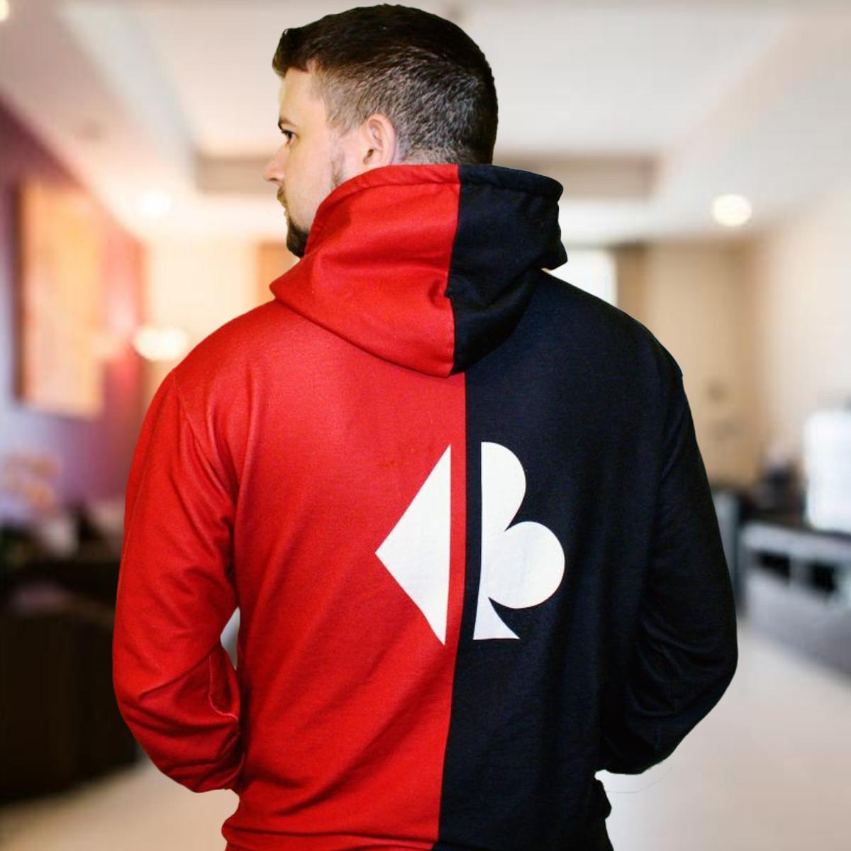 Split Suits Poker Hoodie Back