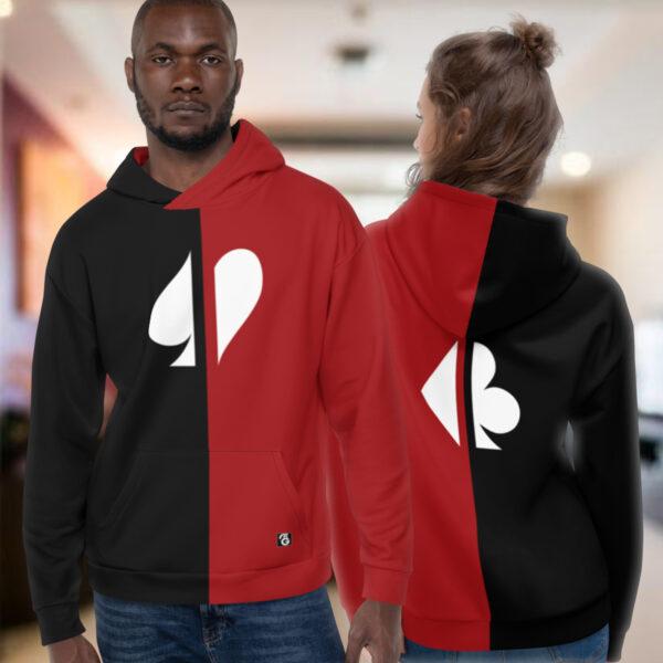 Split Suits Poker Hoodie Models