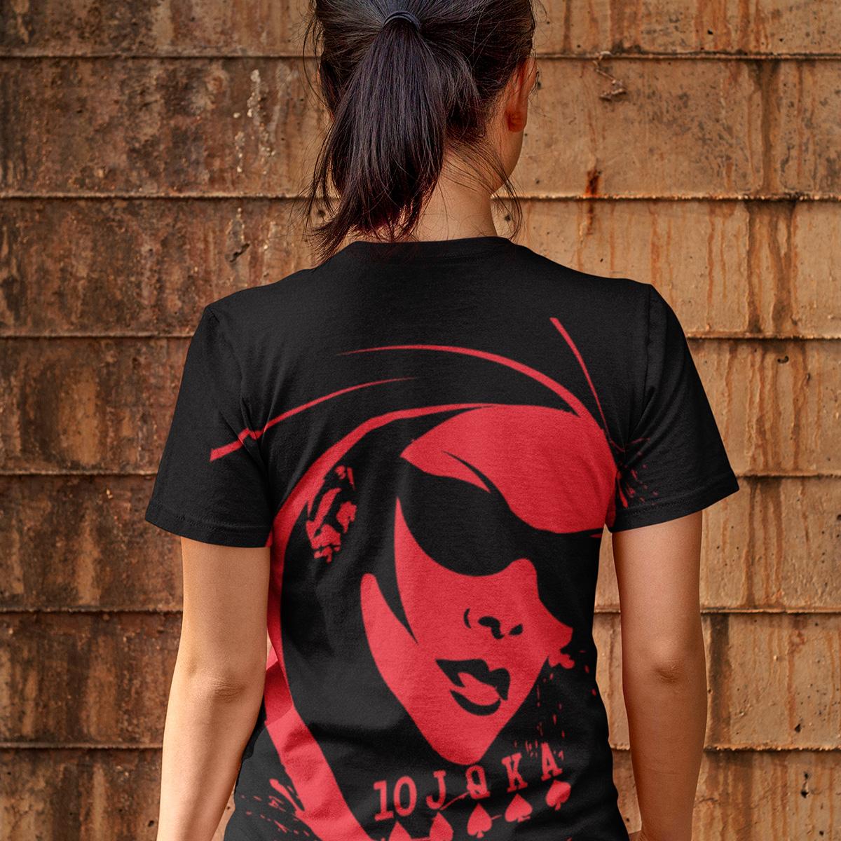 Black widow Poker T-Shirt Mockup Back